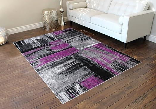 Masada Rugs, Modern Contemporary Area Rug, Purple Grey Black 8 Feet X 10 Feet