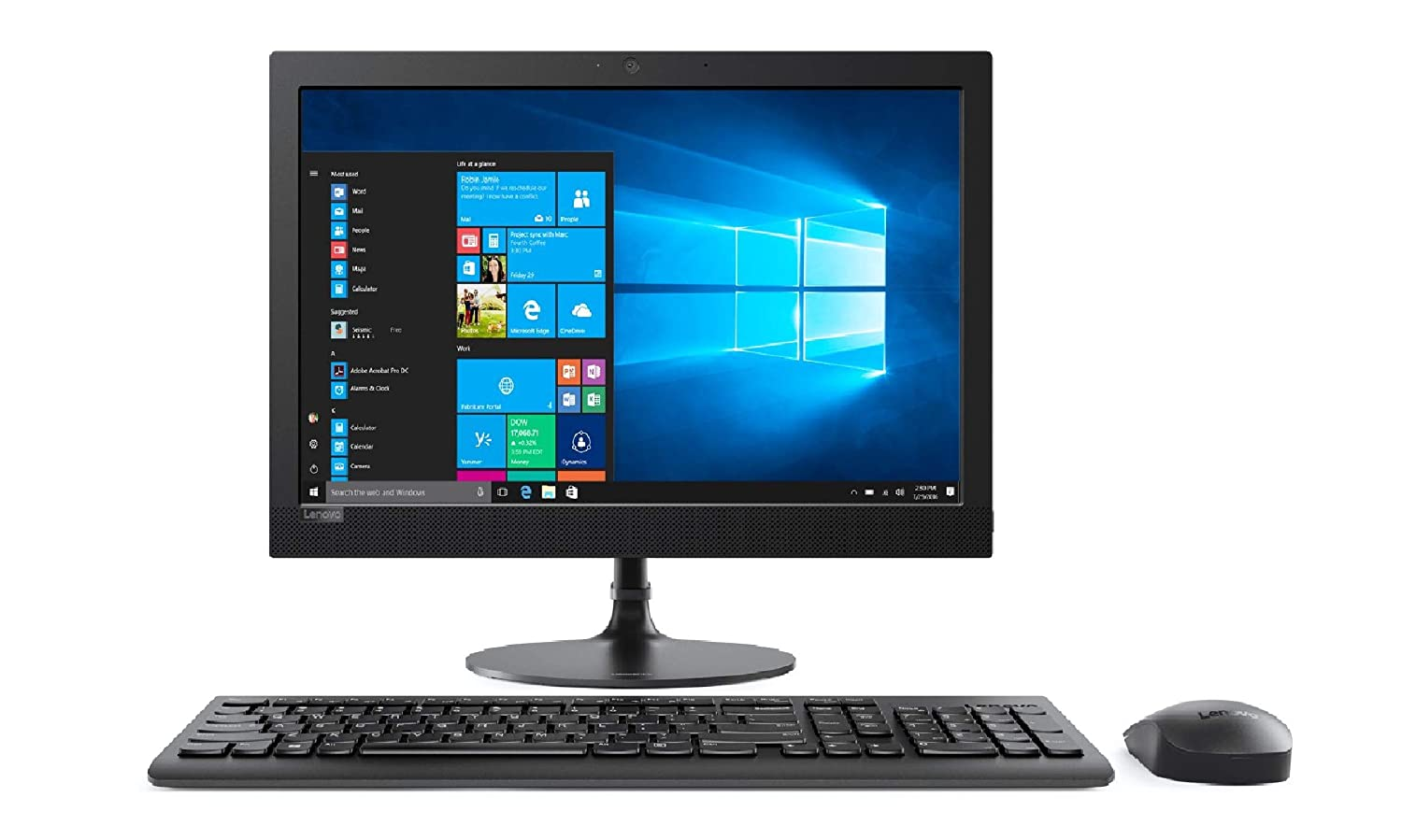 Lenovo Ideacentre AIO 330-20AST - Ordenador de sobremesa 19.5'' HD (AMD E2-9000, 4 GB RAM, 1 TB HDD, AMD Radeon R2, Windows 10 Home) negro - Teclado QWERTY Español