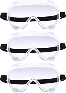 3 Pieces Traditional Technician Safety Goggle Adjustable Goggles Chemical Splash Impact Resistant Goggle Clear Anti-Fog Lens Eyewear for Eye Protection