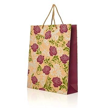 Size XL 3 x T/üte Geschenkt/üten Papiert/üten Deko T/üten Geburtstag Mitbringsel Geschenk Pr/äsent Party buntes Papier Geschenkbeutel Tasche Beutel Motiv Flower Ornament