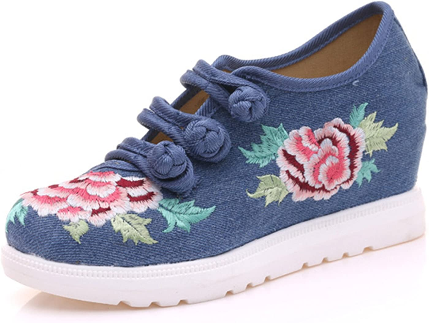 Qhome Womens Floral Peony Embroidery Comfortable Casual Walking Canvas Wedges Flat Elevator Shoes