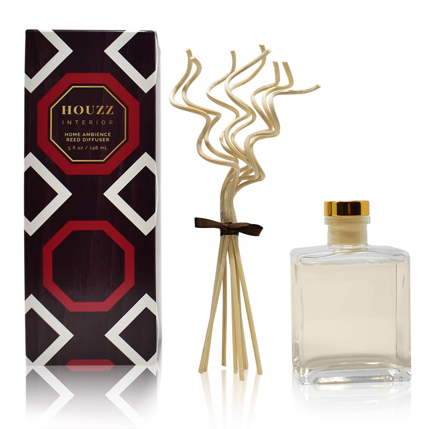 HOUZZ Interior Mango Mandarin Scented Reed Diffuser Oil Set with Decorative Curly Bamboo Reed Sticks - All Natural Citrus Essential Oils - No Sulfates or Parabens - Made in The USA by HOUZZ Interior (Image #3)