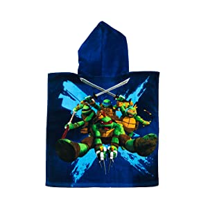 Turtles Boys Ninja Dimension X Navy Velour Touch Hooded Poncho Towel