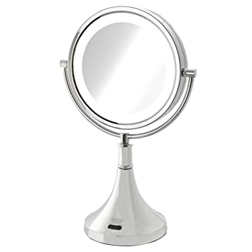 Amazoncom Sharper Image 8x 1x Led Lighted Sensor Mirror Chrome