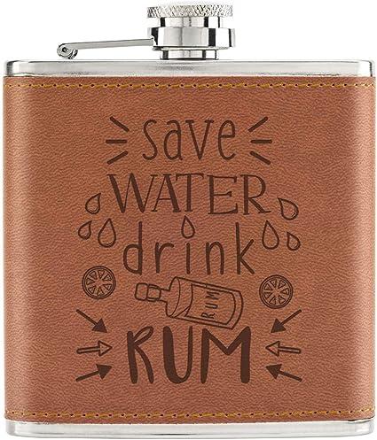 Save Agua Bebida Ron 6oz PU Cuero Petaca Marrón: Amazon.es: Hogar