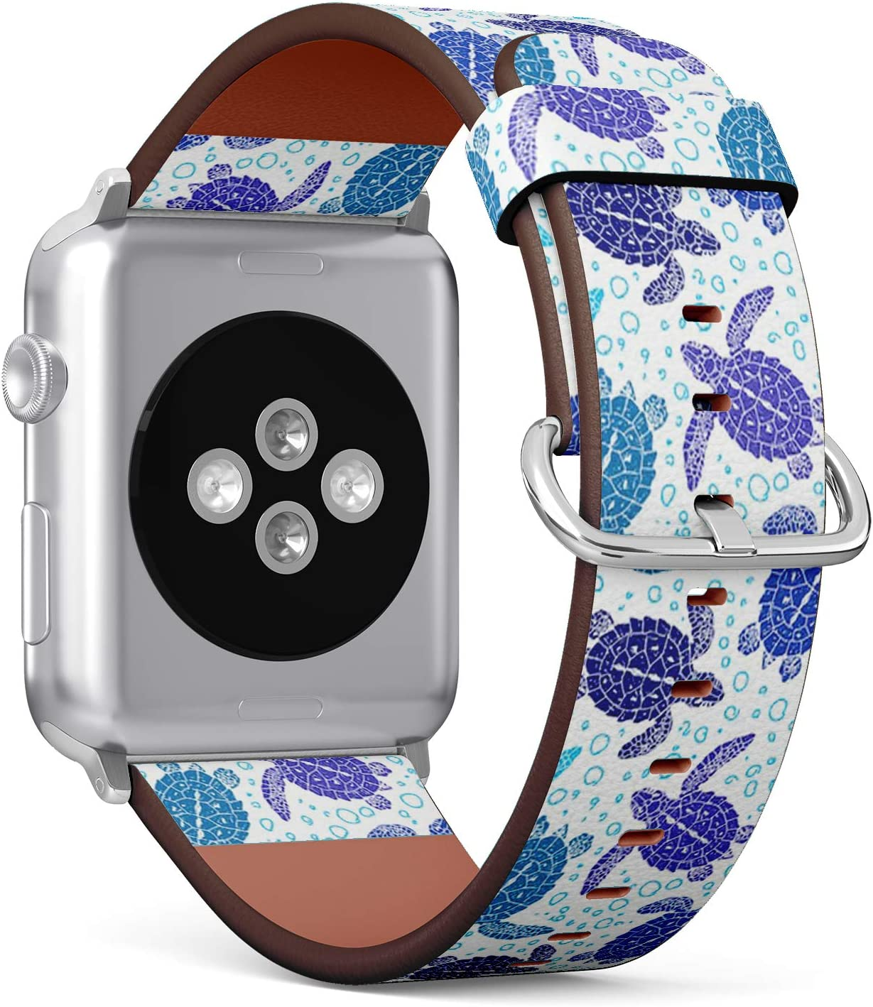 Compatible with Small Apple Watch 38mm & 40mm (Series 5, 4, 3, 2, 1) Leather Watch Wrist Band Strap Bracelet with Stainless Steel Clasp and Adapters (Turtles Silhouette)
