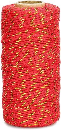 spago rosso 2 mm Spago di cotone rosso 200 metri di corda in cotone cordino rosso natalizio per confezioni regalo