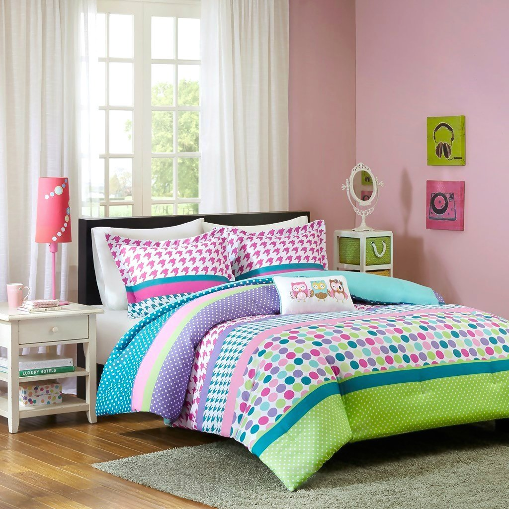 Adorable Girls Teen Kids OWL Bedding Comforter Set FULL QUEEN Polka Dot Geometric + 2 Shams + Fun Pillow Pink Aqua Blue Teal Purple Green