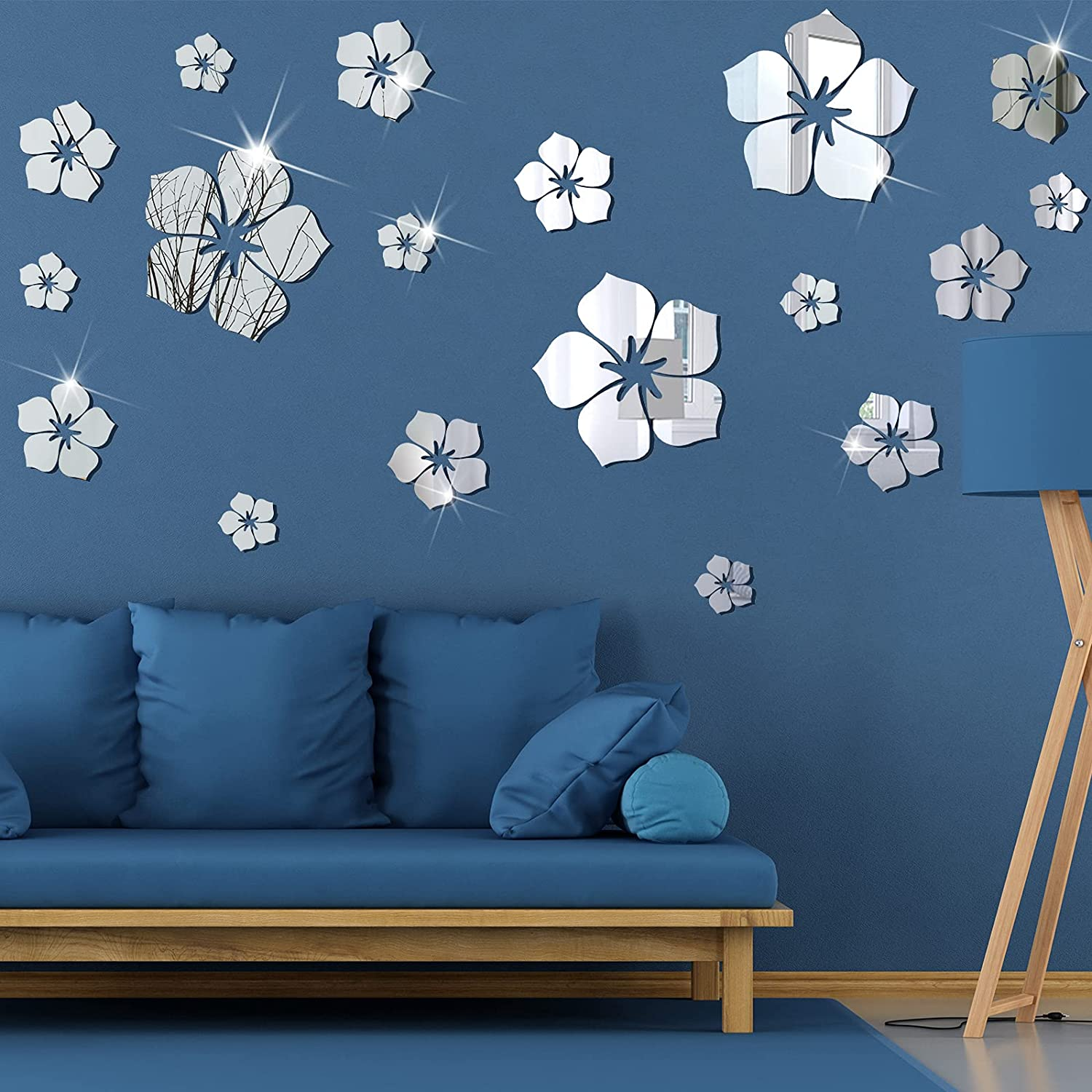 36 Pieces 3D Acrylic Mirror Wall Decor Stickers Sakura Quotes Wall Stickers Removable Family Wall Decals Motivational Family Flower Mirror Stickers for Office Dorm Home Mirror Wall (Silver)