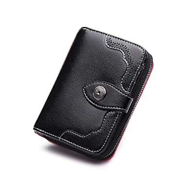 Hollow Out Wallet Short Wallet Leather Vintage Womens Purse Zipper&Button Purse Red Small Wallet Coin Pocket