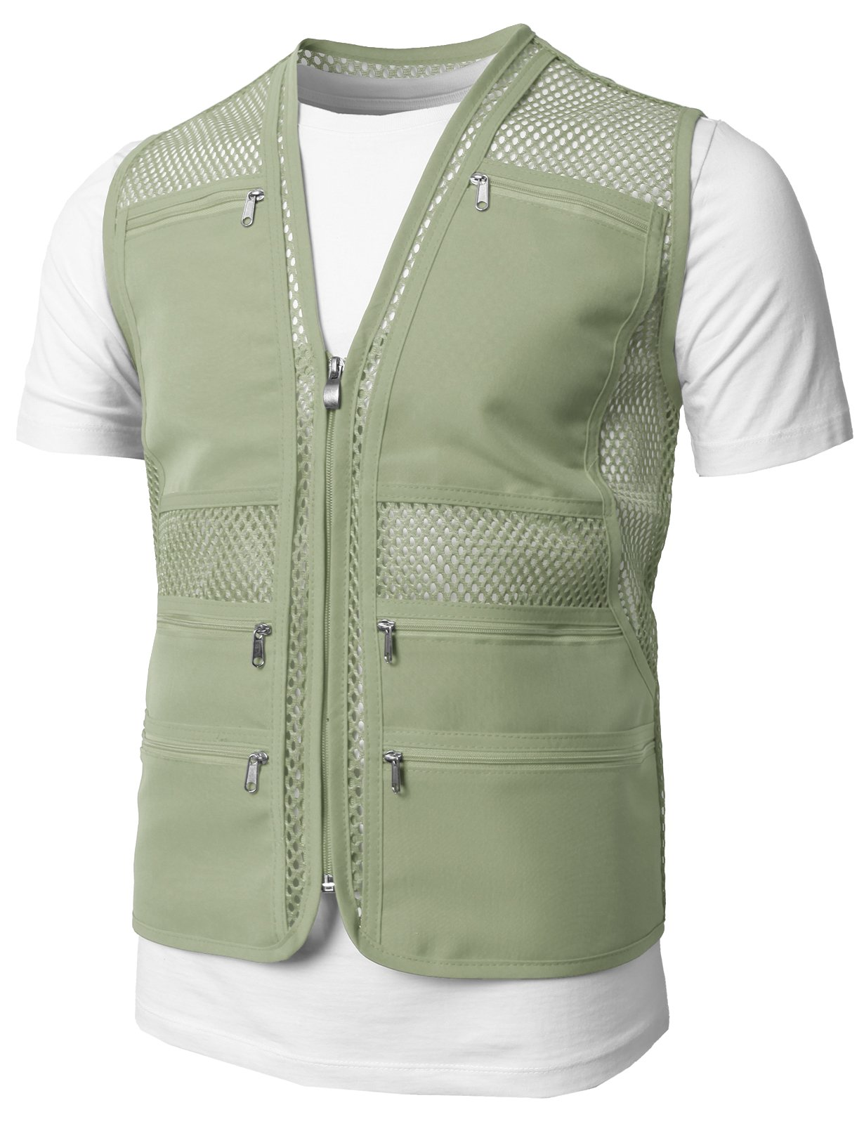 H2H Mens Casual Work Utility Hunting Travels Sports Mesh Vest With Pockets Khaki US XXL/Asia 3XL (KMOV086)