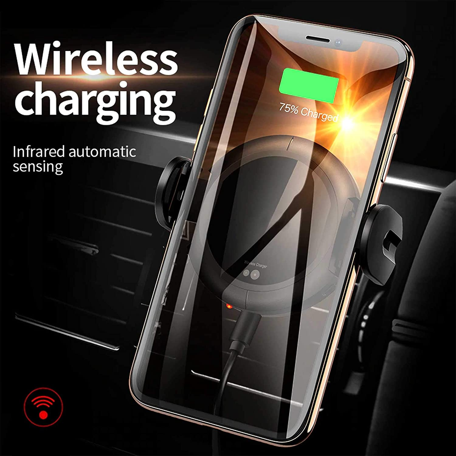 Fast Charging Compatible with iPhone 8//8 Plus//X//Xs//Xs Max//Xr Samsung Galaxy S10//S10+//S9//S9+//S8//S8+// Car Phone Holder Air Vent Dashboard Wireless Car Charger Mount Auto Liberator 7.5W //10W