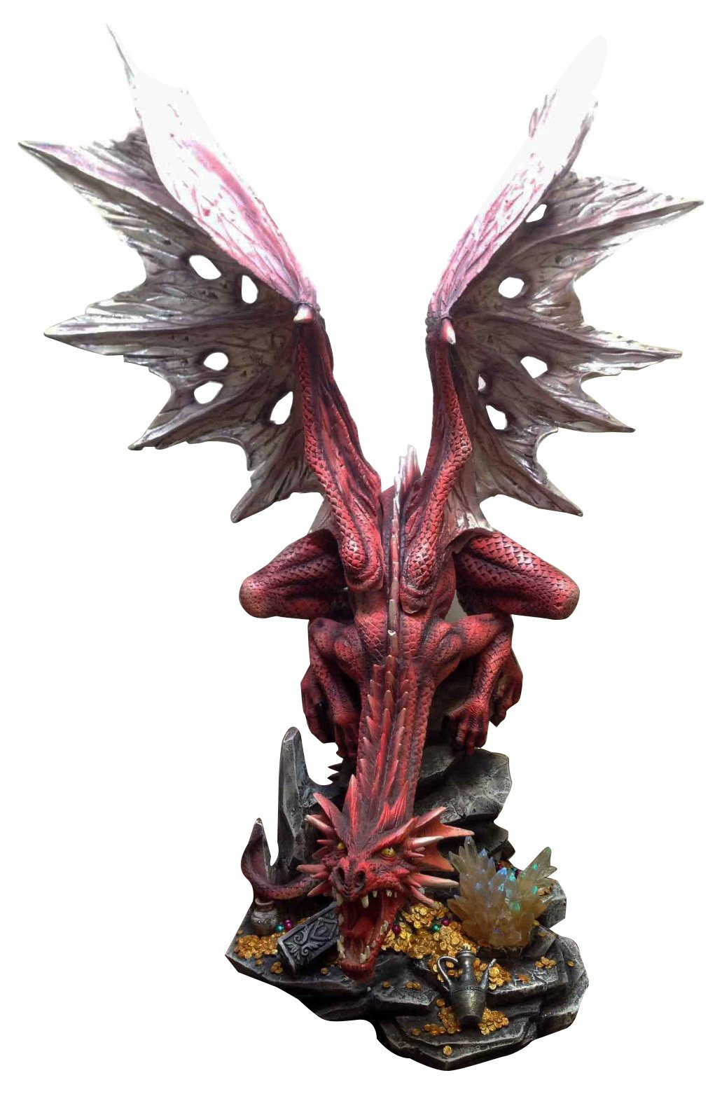 LARGE 23''H RED FIERY DRAGON ON ROCK STATUE LED NIGHT LIGHT FIGURINE VIVID COLORS