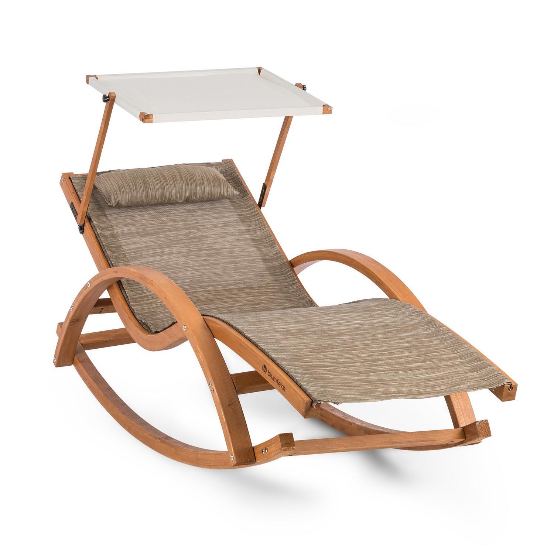 Blumfeldt Malibu Chaise Longue à Bascule avec auvent ComfortMesh 150kg - crème