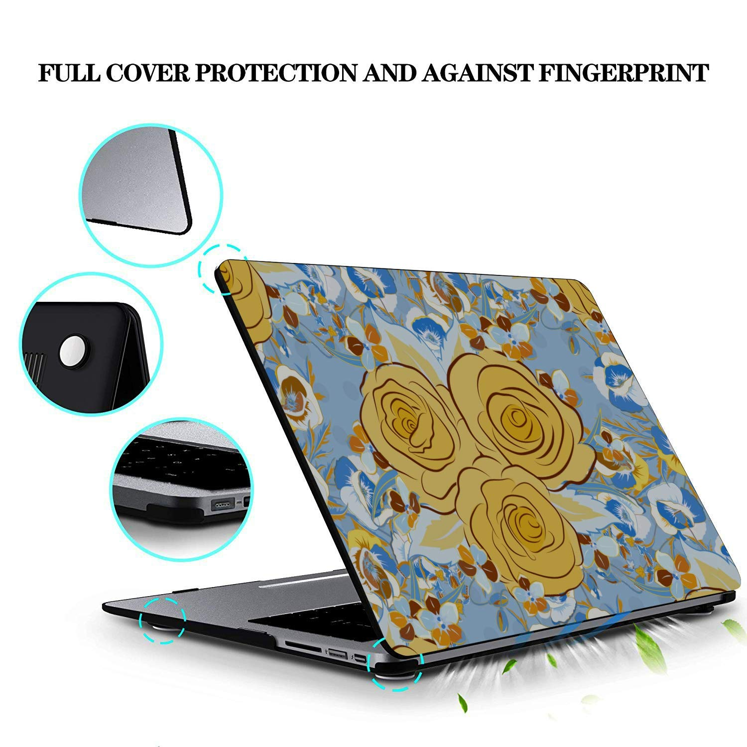 Mac Book Accessories Yellow Retro Beautiful Flower Camellia Plastic Hard Shell Compatible Mac Air 11 Pro 13 15 MacBook Case 13 Inch Protection for MacBook 2016-2019 Version