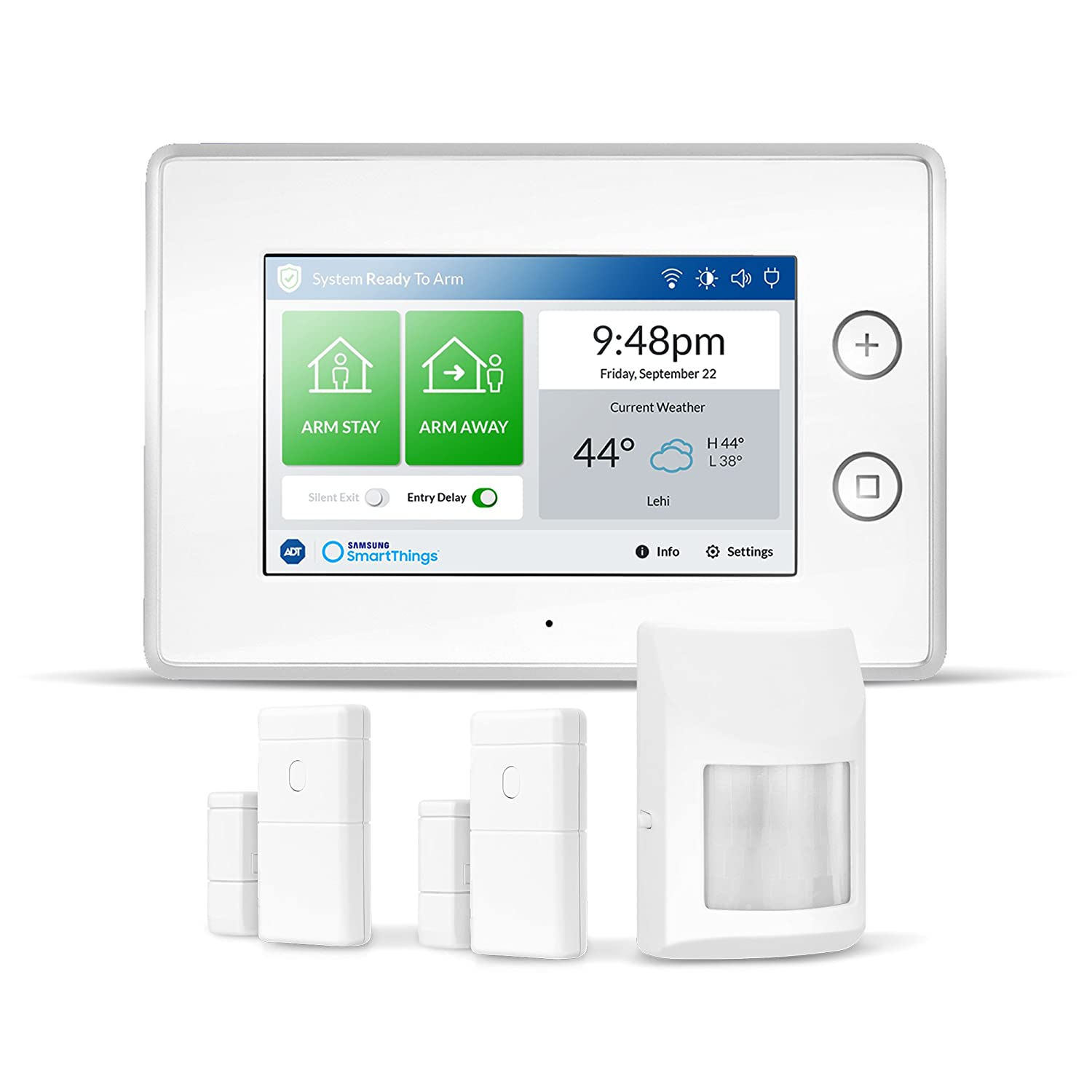 Samsung SmartThings ADT Wireless Home Security Starter Kit with DIY Smart Alarm System Hub Door and Window Sensors and Motion Detector Alexa Compatible Zigbee Z Wave IP Network Protocols