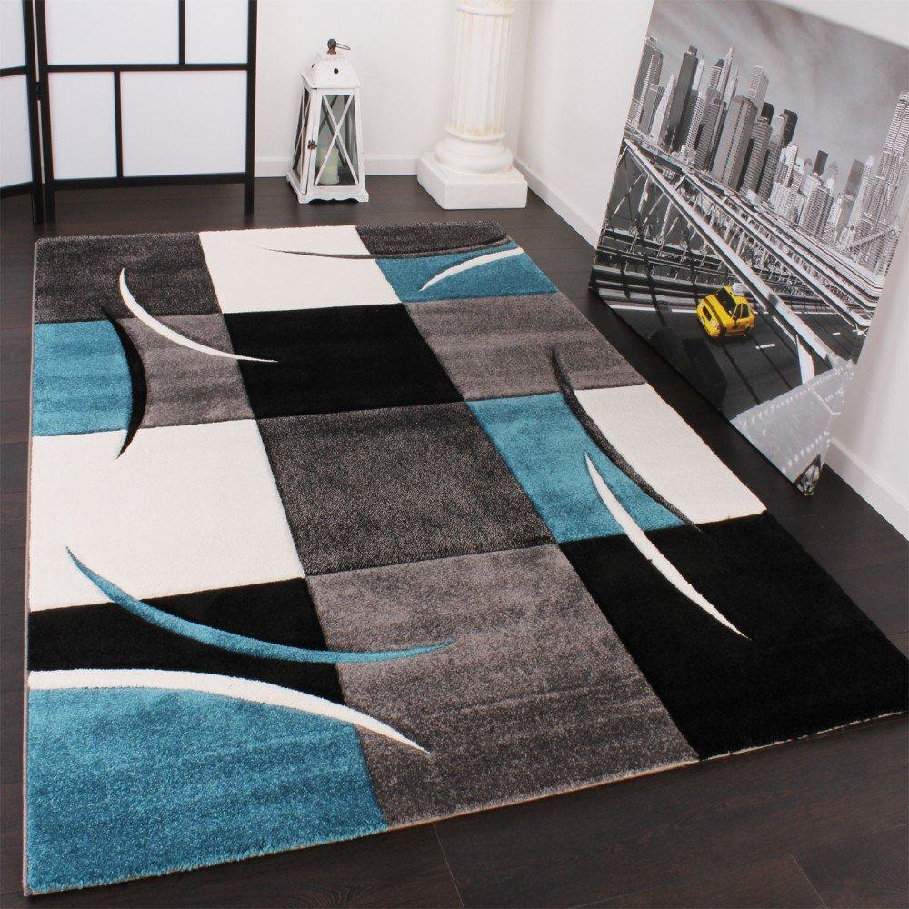 PHC Designer Teppich mit Konturenschnitt Karo Muster Türkis Grau, Grösse 200x290 cm
