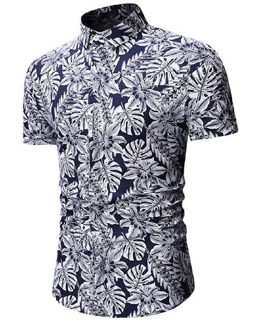 Abeaicoc Mens Short Sleeve Print Button Up Casual Relaxed Fit Shirts