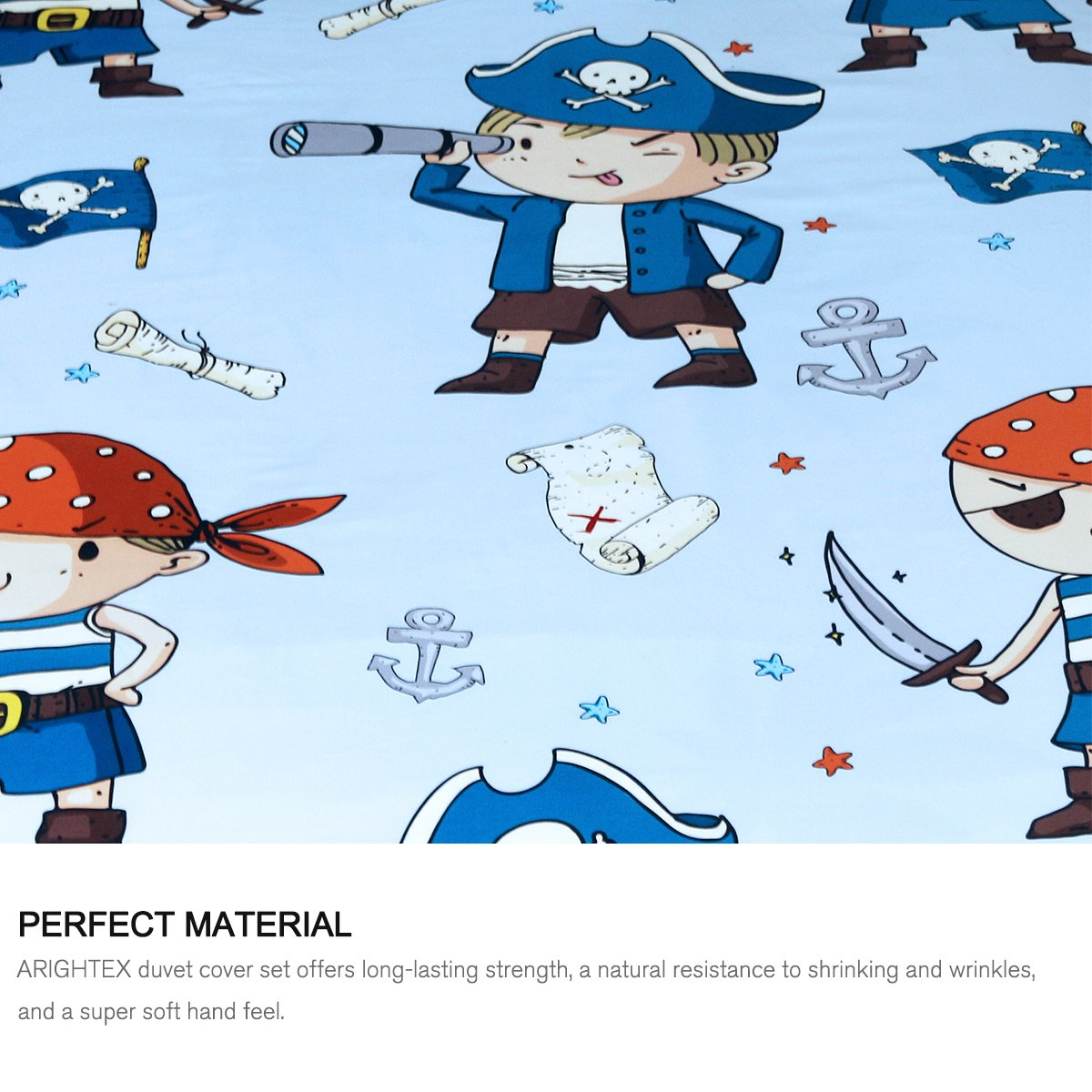 ARIGHTEX Pirate Boy Blanket Nautical Themed Sherpa Fleece Blanket Ultra Soft Blue and Orange Pirates Teens college dorm throw blanket (50 x 60 Inches) by ARIGHTEX (Image #3)