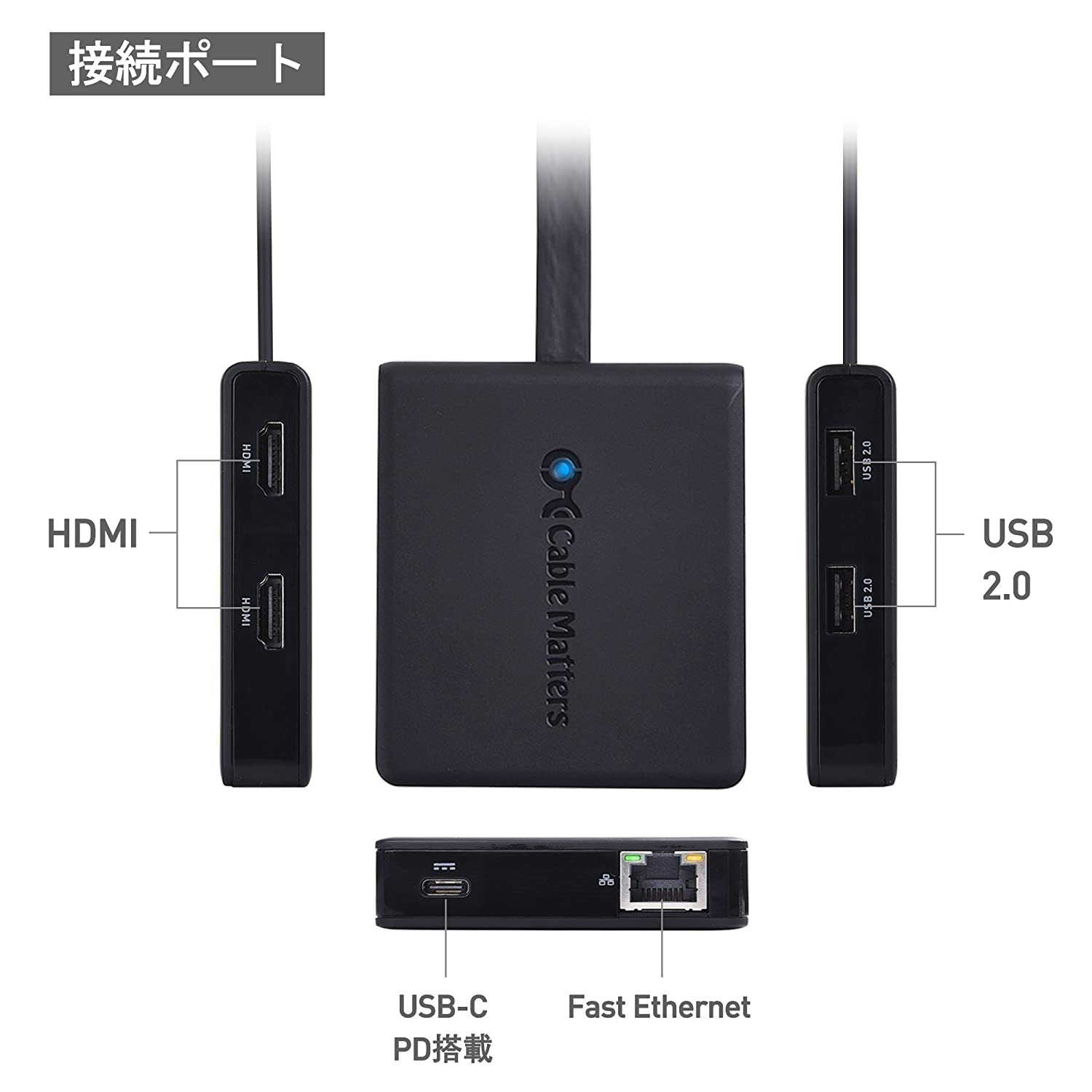 Cable Matters:USB Type-C 6-in-1 多機能搭載ドック