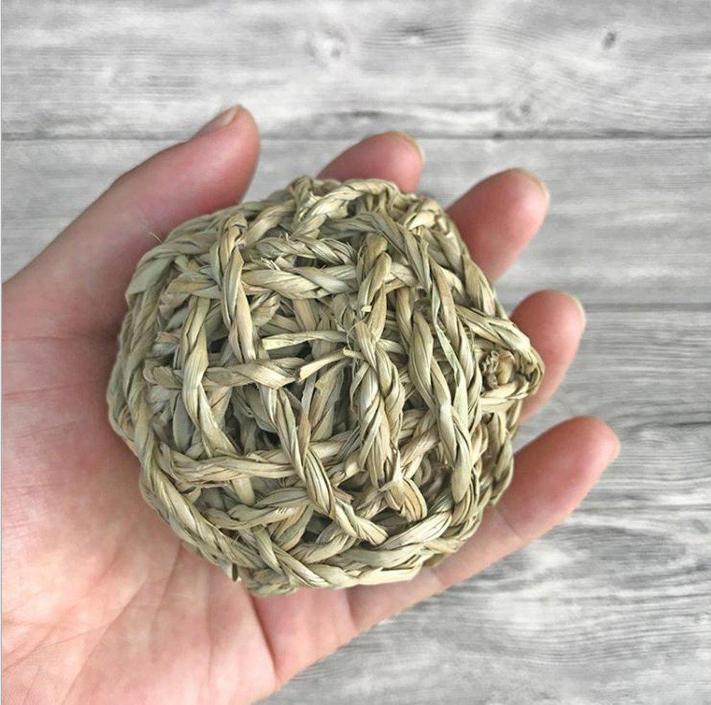 wskderliner Gras Ball natürlicher gewebter Kauen Spielzeug mit Glöckchen im Inneren für Kaninchen Hund Play 4PCS