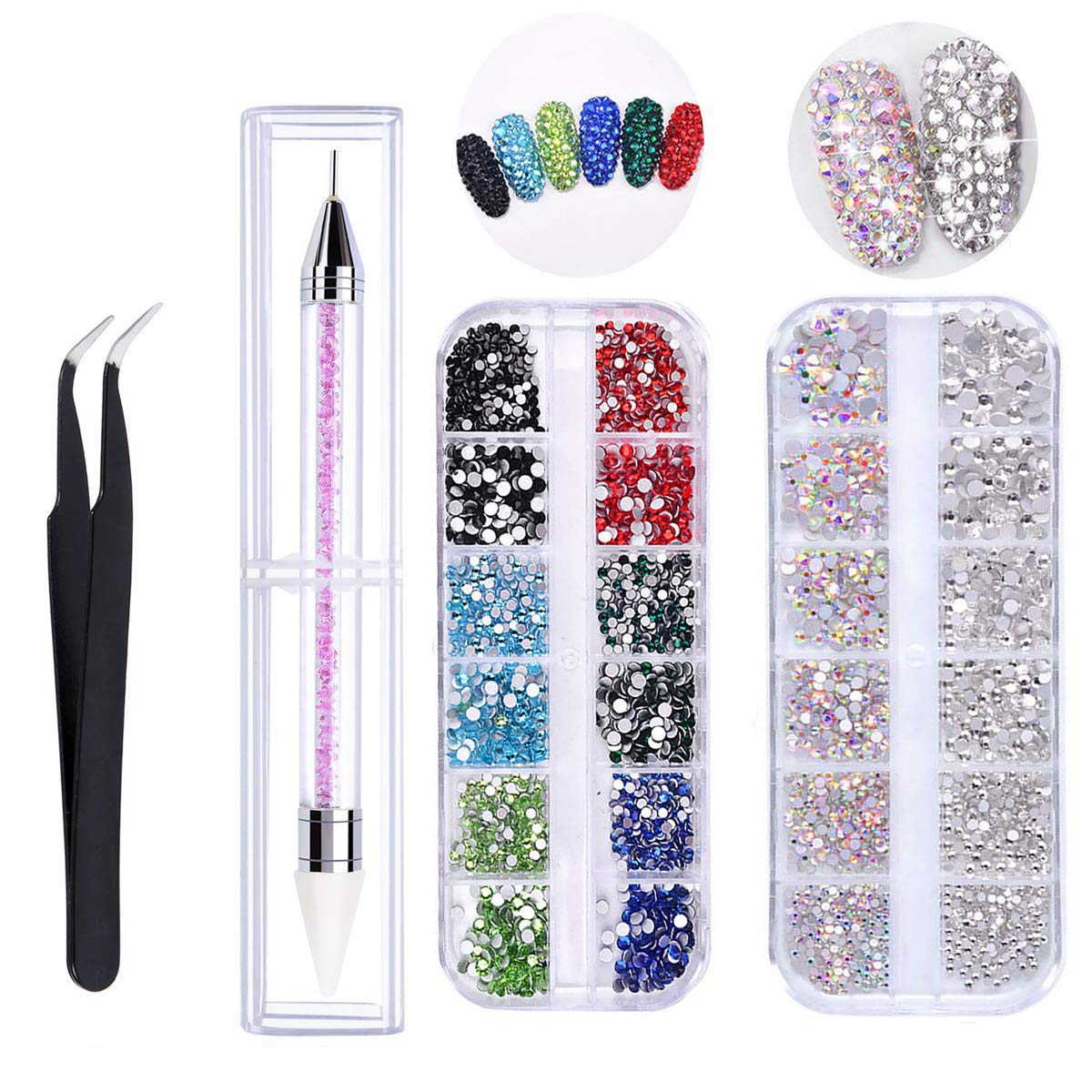 AB Nail Crystals Rhinestones Multi Shapes 3D Glass Nail Art Crystal Round Beads Flatback Glass Charms Gems Stones with Pick Up Tweezer and Rhinestone Picker Dotting Pen More than 4000pcs (6Size) by BeautyChen