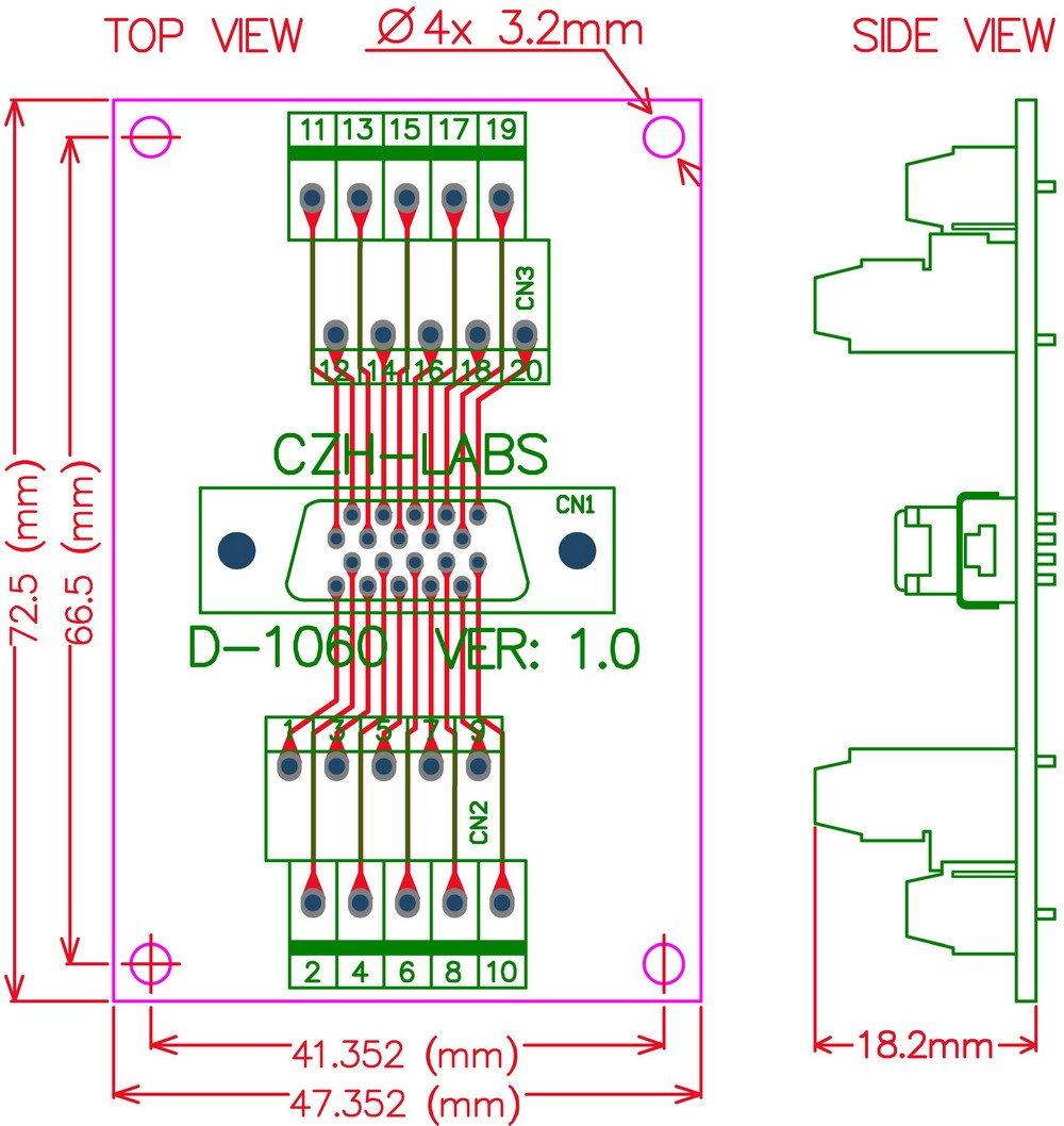Electronics-Salon DIN Rail Mount 20-pin 0.05'' Mini D Ribbon/MDR Female Interface Module, SCSI.