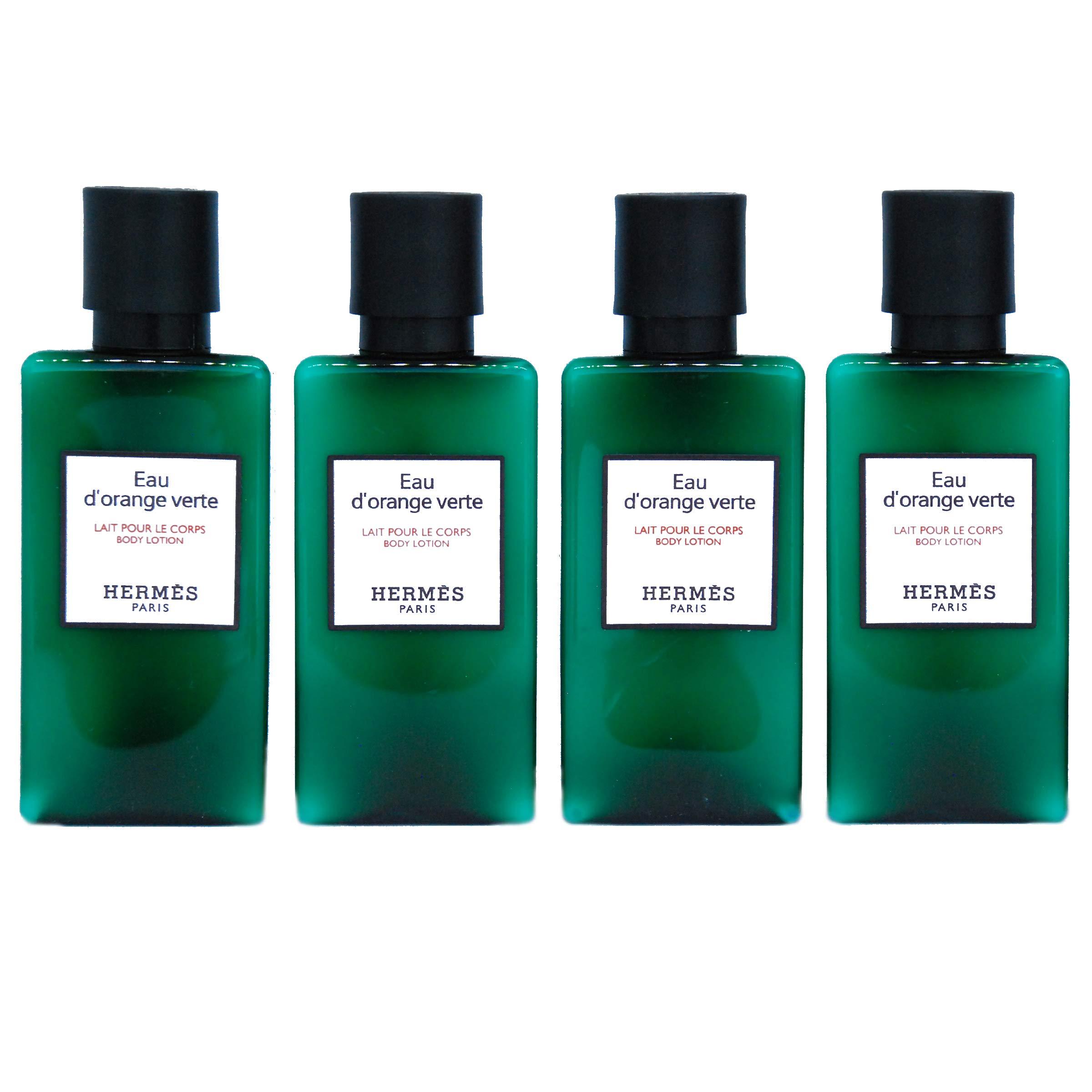 Hermes Eau d'Orange Verte Luxury Body Lotion (Lait Pour Le Corps) White Label in Bubble Bag - Set of 4 X 1.35 Ounce/40 ML Bottles, Total 5.4 Ounce/160 ML from Hermes Paris