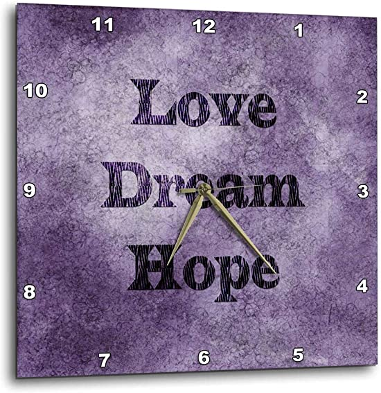 3dRose DPP_59924_1 Purple Love, Dream, Hope Zebra Print Word Art Wall Clock, 10 by 10