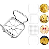 Stainless Steel Potatoes Fruit Cutter Chipper Apple Slicer French Fry Tool Multifunctional Vegetable Chopper with Ergonomic A