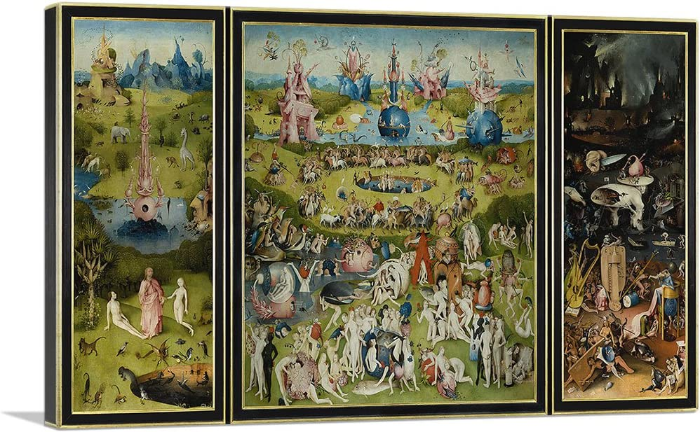 "ARTCANVAS The Garden of Earthly Delights 1515 Canvas Art Print by Hieronymus Bosch - 40"" x 26"" (0.75"" Deep)"