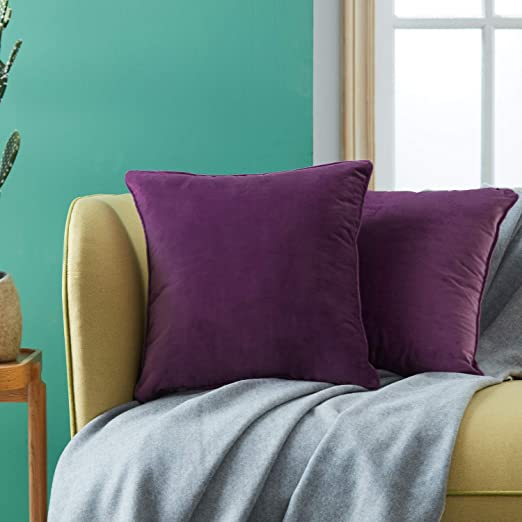 Topfinel juego 2 Hogar cojín terciopelo Decorativa Almohadas Fundas color sólido Para Sala de Estar sofás 45x45cm Violeta
