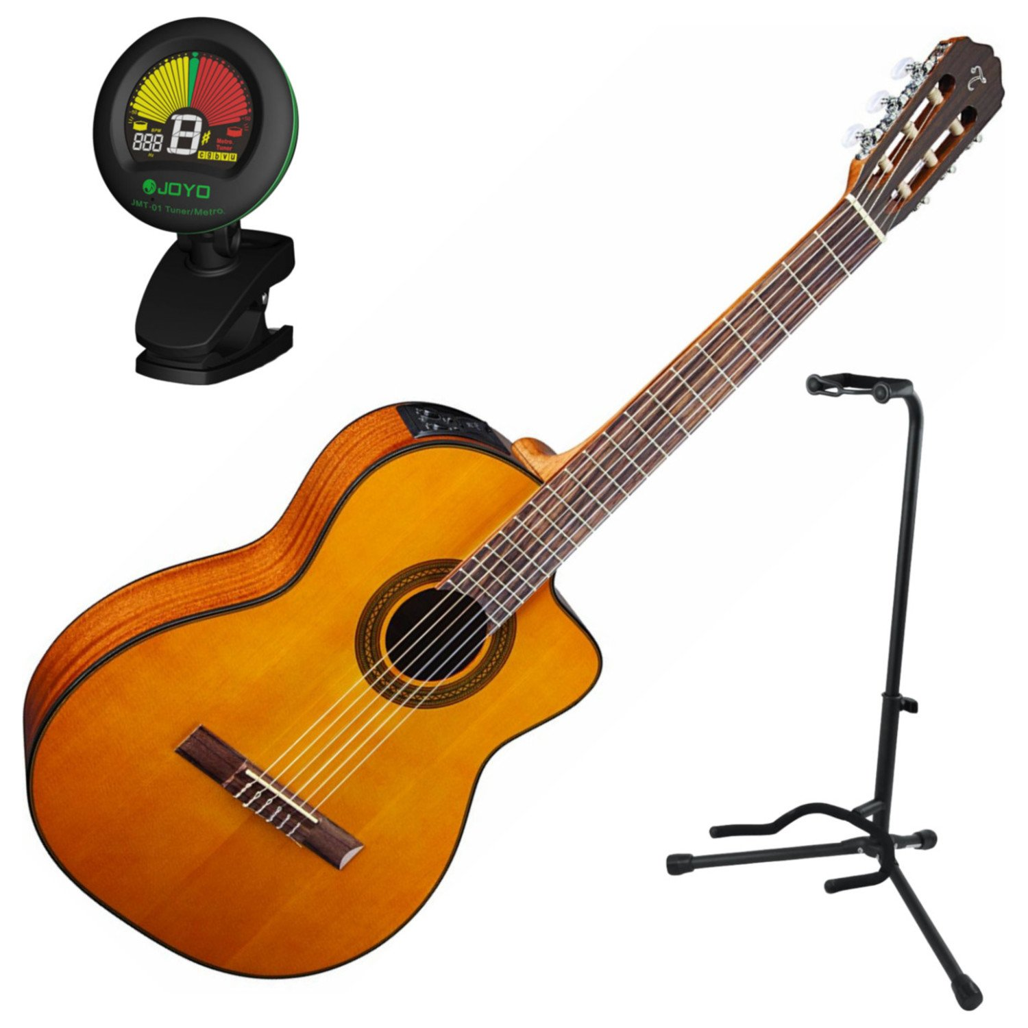 Takamine GC1CE-NAT Classical Guitar with Electronics w/ Stand and Tuner by Takamine