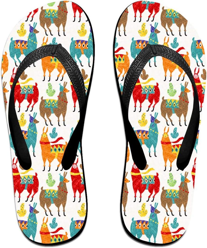 Llamas Colors Mens and Womens Light Weight Shock Proof Summer Beach Slippers Flip Flops Sandals