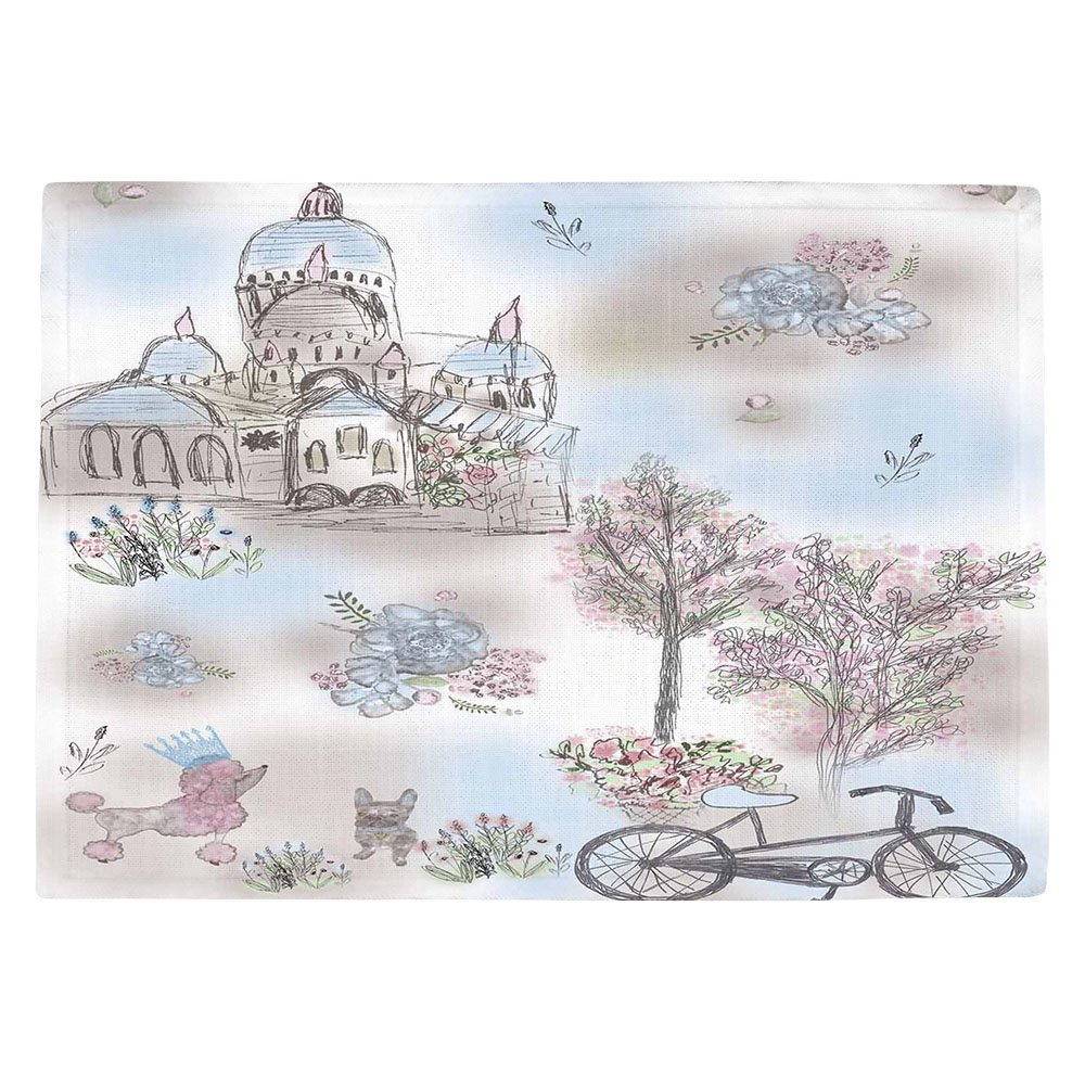 DIANOCHEキッチンPlaceマットby Julie Ansbro French Poodles Set of 4 Placemats PM-JulieAnsbroFrenchPoodles2 Set of 4 Placemats  B01EXSHMDC