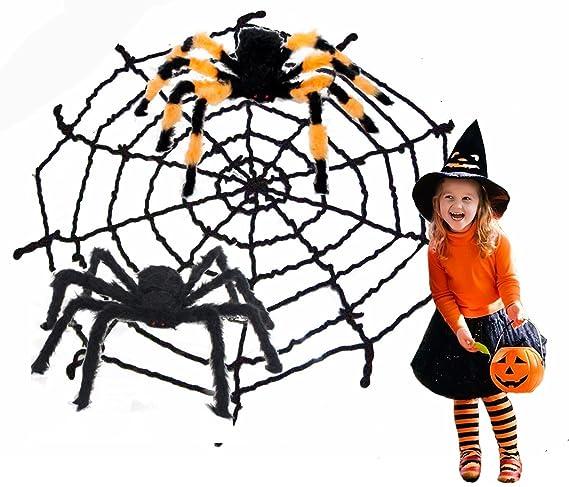 Amazon Com 3 Pcs Black Giant Spider Web Spider Halloween