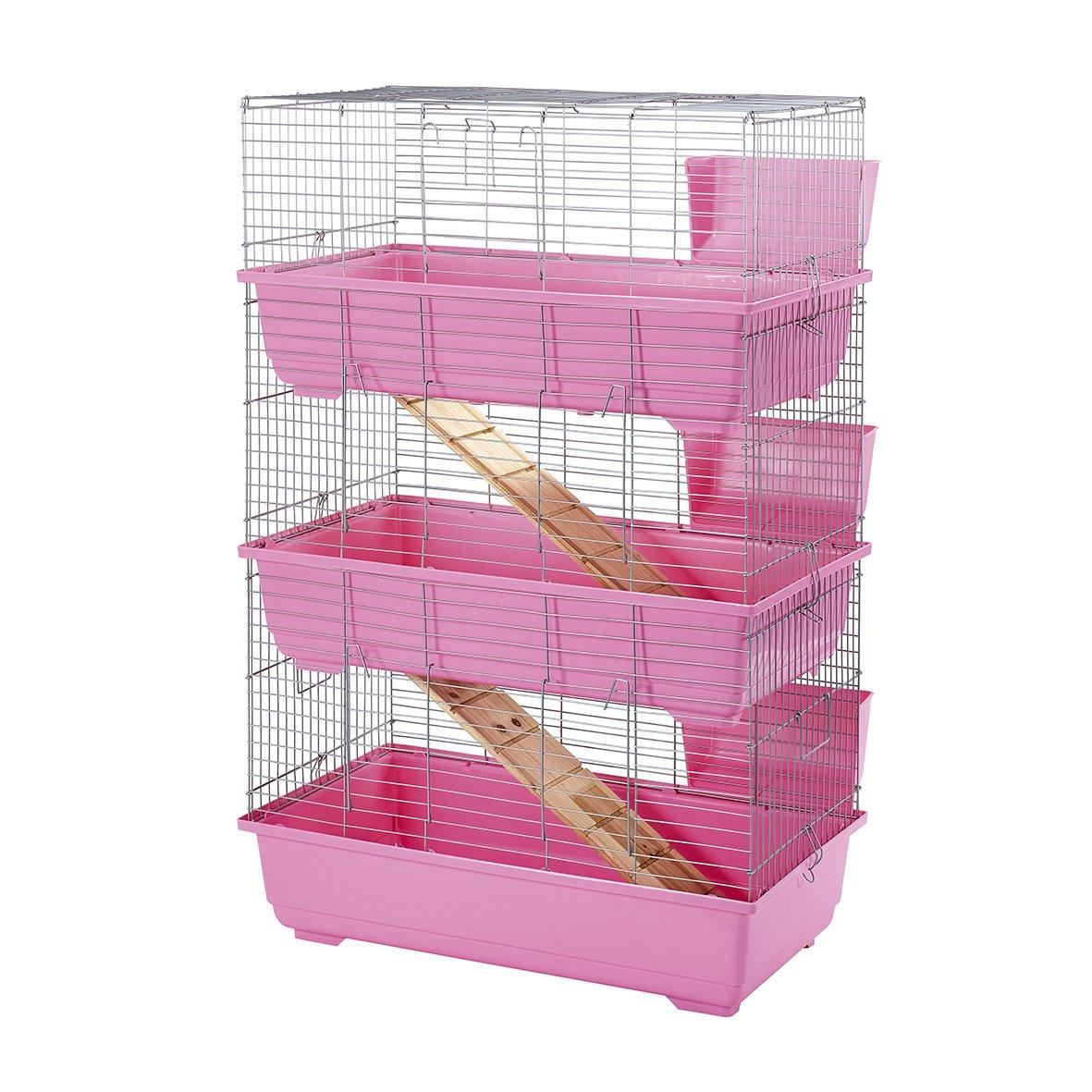Little Friends Triple Rabbit Cage, 80 cm, Pink