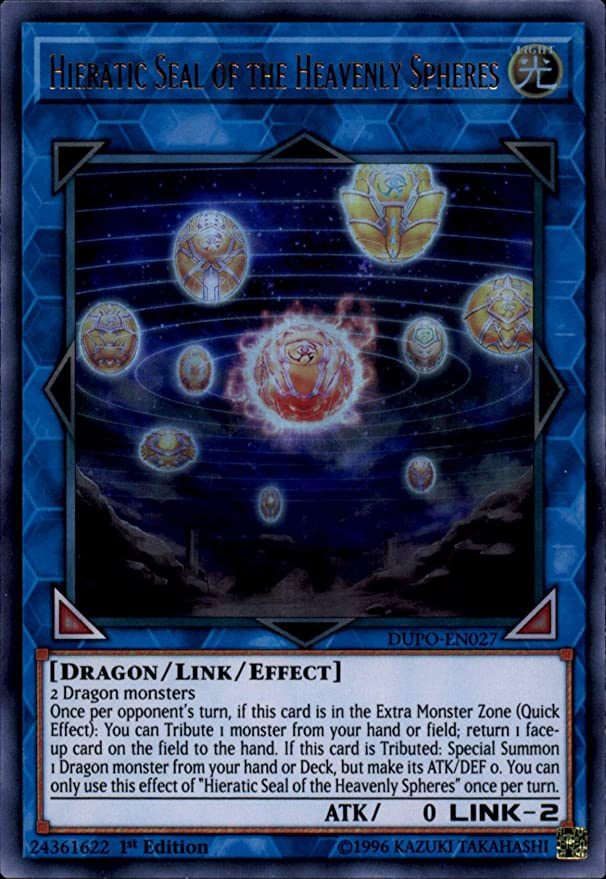 3 X Hieratic Seal of the Heavenly Spheres DUPO-EN027 1st Ed Ultra Rare YUGIOH