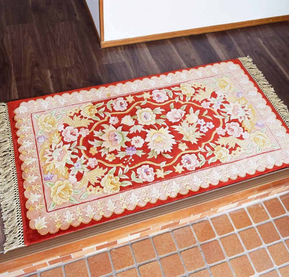 マット 玄関マット シルク緞通 2.25×4才 約70×140cm 花柄 レッド 赤 シルク100% 絹 中国緞通 手織り 高級感 重厚感 華やか おしゃれ  レッド B07L3P3CLQ