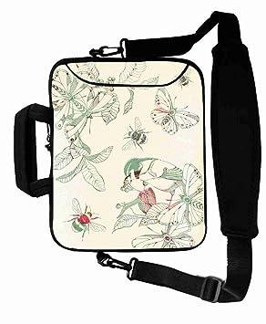 Personalizado con (flores pájaros Watercolor painting) correas de bolsa de ordenador portátil (desmontable) suitalbe niña de (17 y 17,3 pulgadas)-cb-17 ...
