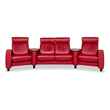 Stressless Arion Designer Leather Sofa Red Four-Seater ...