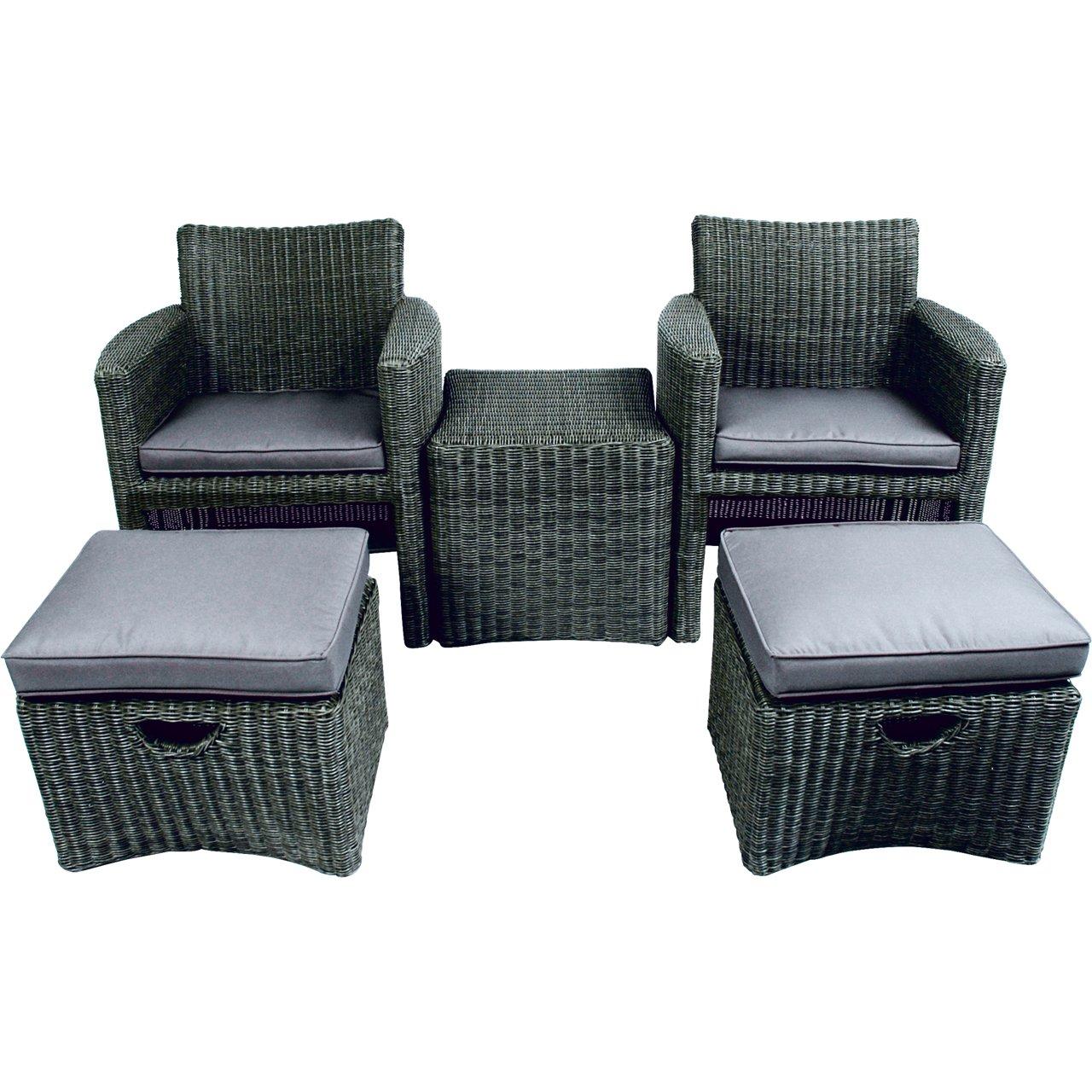 Poly Rattan Duo Set 5tlg taupe Stühle Fußbänke Tisch Gartenmöbel Set ...