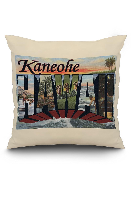 カネオヘ、ハワイ – Large Letterシーン 20 x 20 Pillow (Natural Border) LANT-3P-PW-NL-8211-20x20 B01NAC8HGE  20 x 20 Pillow (Natural Border)