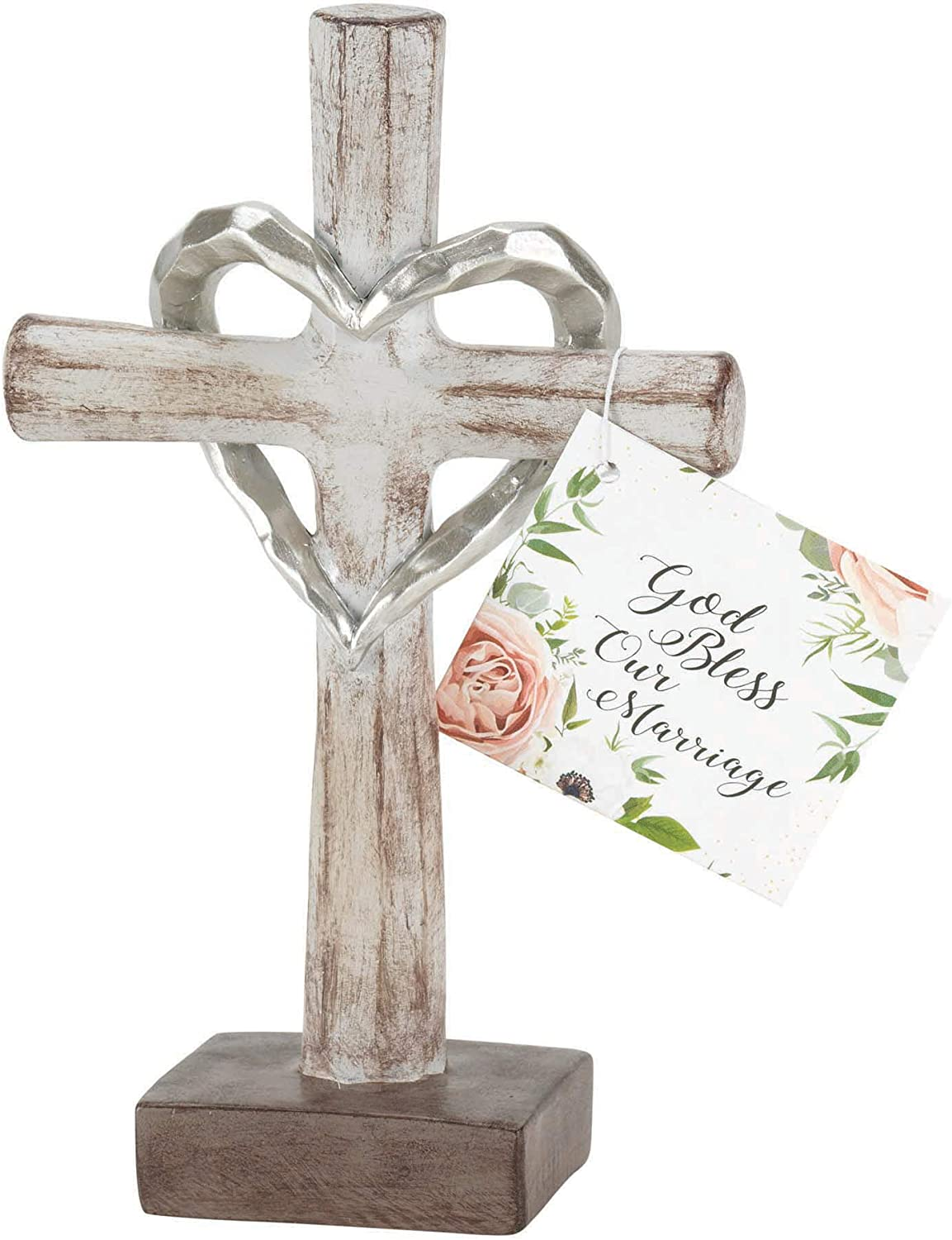 God Bless Our Marriage Distressed White 6 x 2 Inch Resin Stone Tabletop Cross