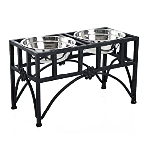 PawHut Elevated Double Stainless Steel Bowl Dog Feeder