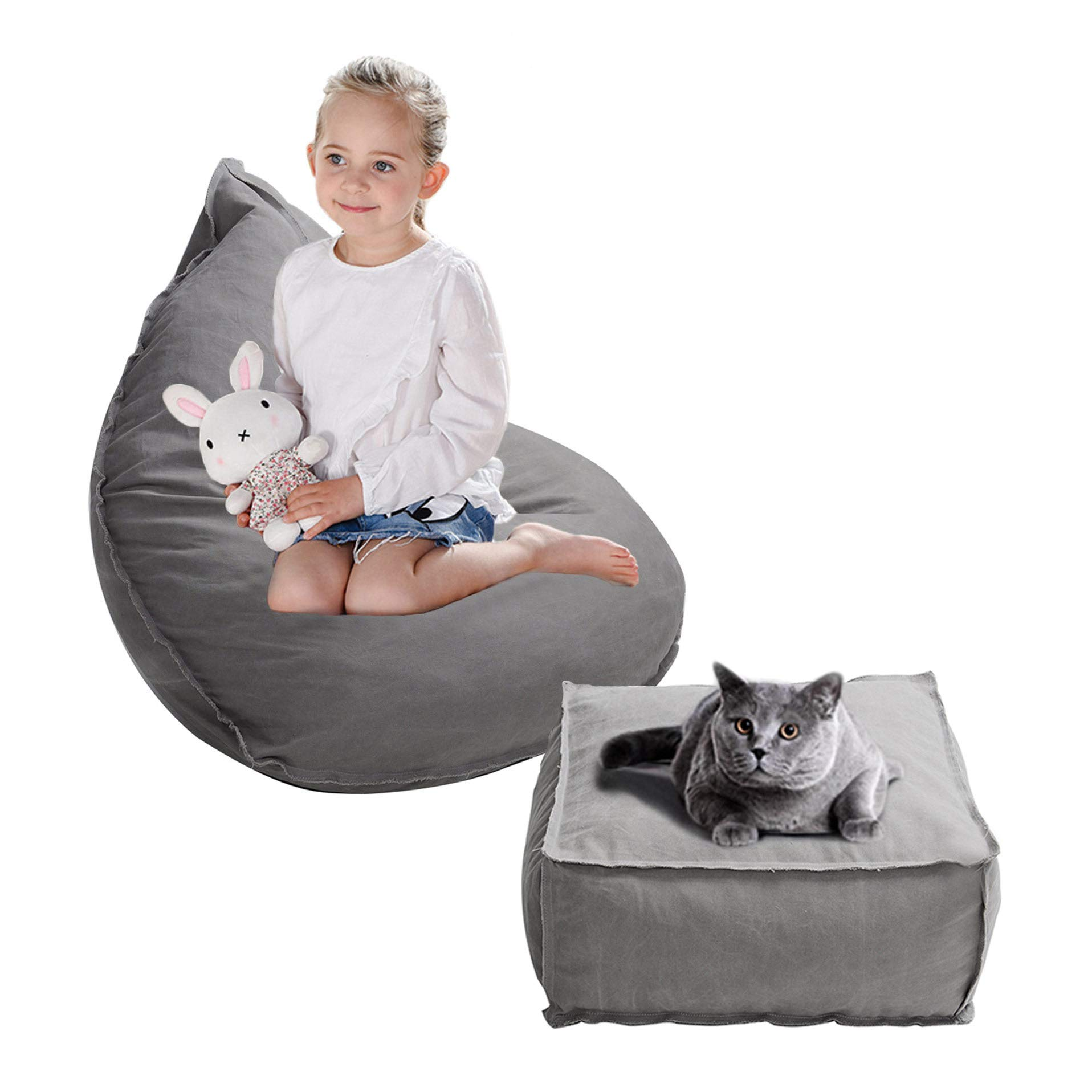Dporticus 3 Feet Kids Bean Bag Chair Sofa Seat with Foot Pad for Children, Birthday Gifts for Boys and Girls by Dporticus