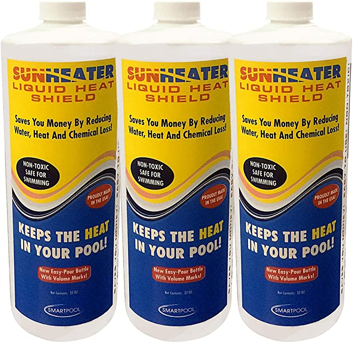 SunHeater Shield, 32 oz. Bottle – Liquid Solar Blanket, Non-Toxic and Safe for Swimmers, Reduces Water Evaporation Chemical and Heat Loss, SHS32-3, Pack of 3, Clear