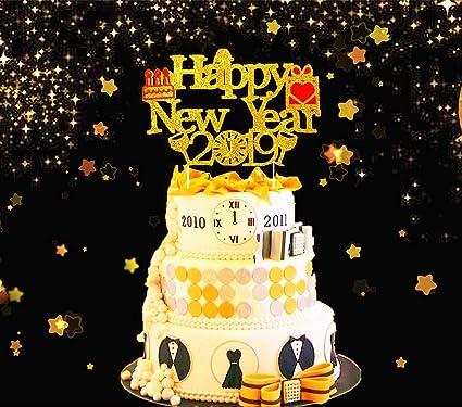 Amazon Com Jevenis Gold Glittery Happy New Year Cake Topper