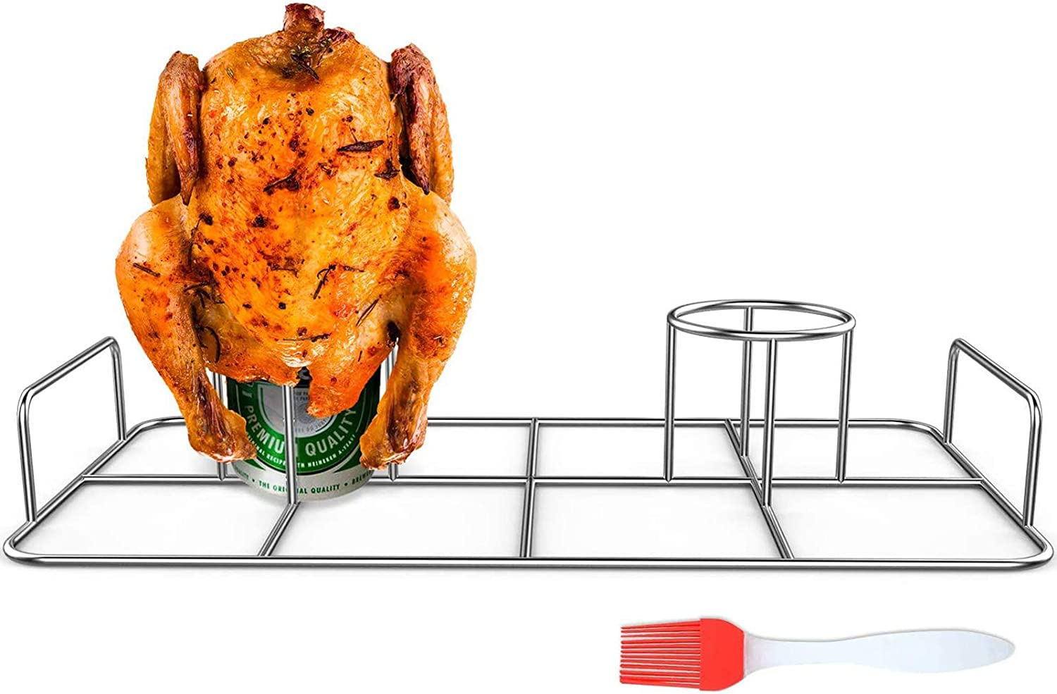 RUSFOL Double Beercan Chicken Rack with a Silicone Oil Brush, Stainless Steel Twin Chicken Stand for Smoker and Grill,Cook 2 Chicken Together