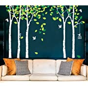 Amaonm 104 x71  Giant Large Jungle 5 Trees Wall Decals Green Leaves and Fly Birds Wallpaper Wall Decor DIY Vinyl Wall Stickers for Kids Bedroom Living Room Nursery Rooms Offices Walls (White Tree)